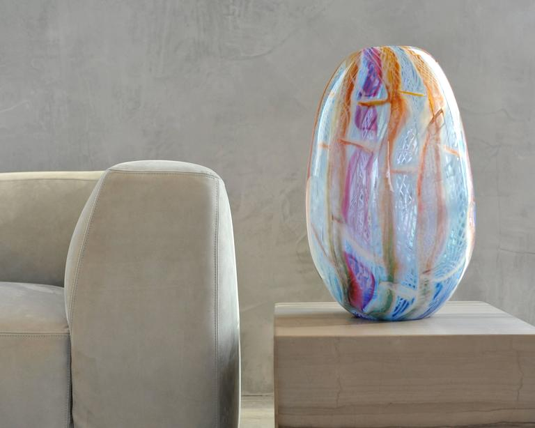 Big blown glass vase. Murano glass style colors purple, blue, orange and white. - Modern Sculpture by Richard Price