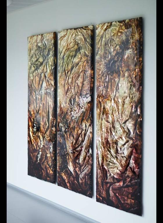 Triptych Wall Art pleunie buyink - wall art 'moments', triptych in gold and bronze