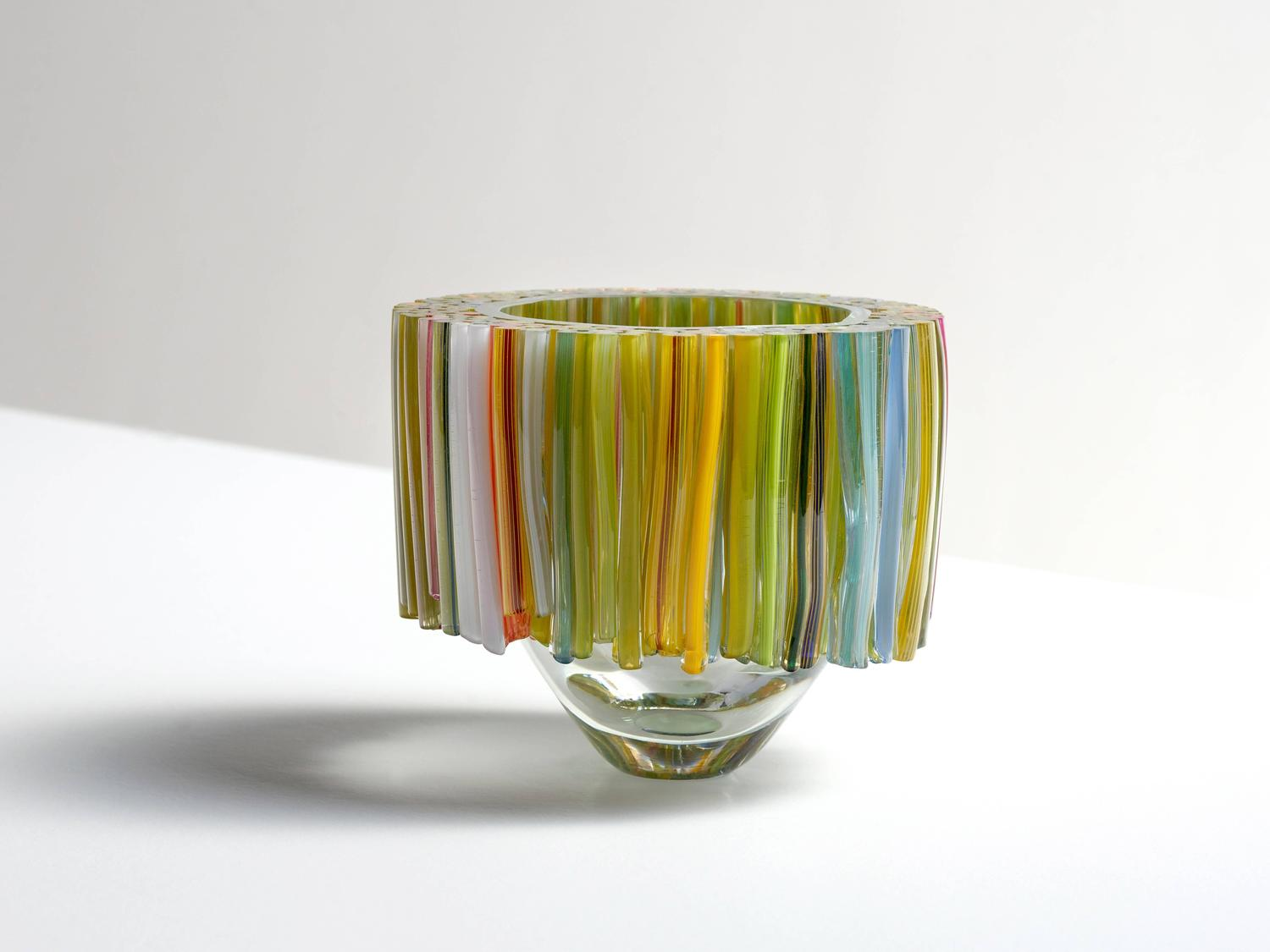 Richard price blown glass tall vase murano glass style colors blown glass bowl with green and yellow glass threads by sabine lintzen reviewsmspy