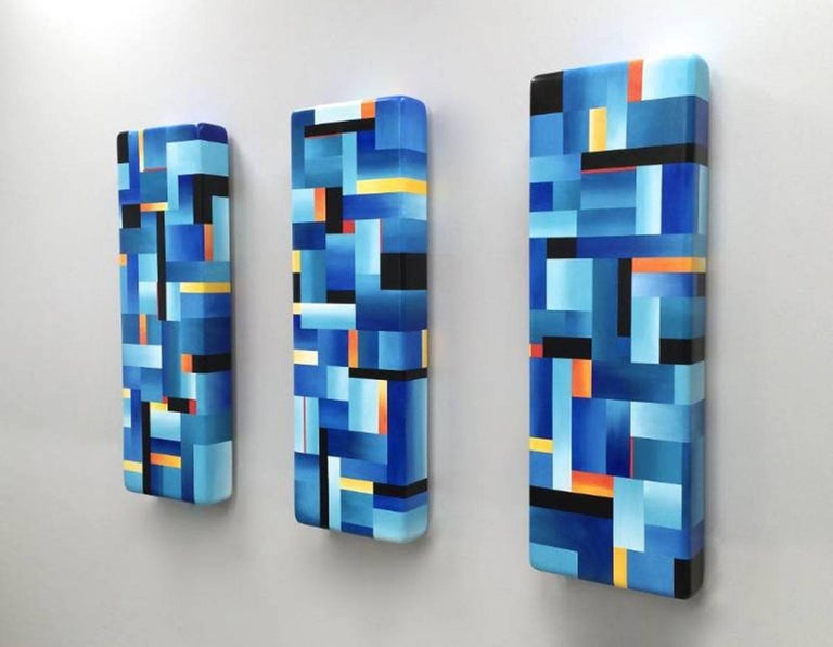 Blue Color Bar Triptych Reflection