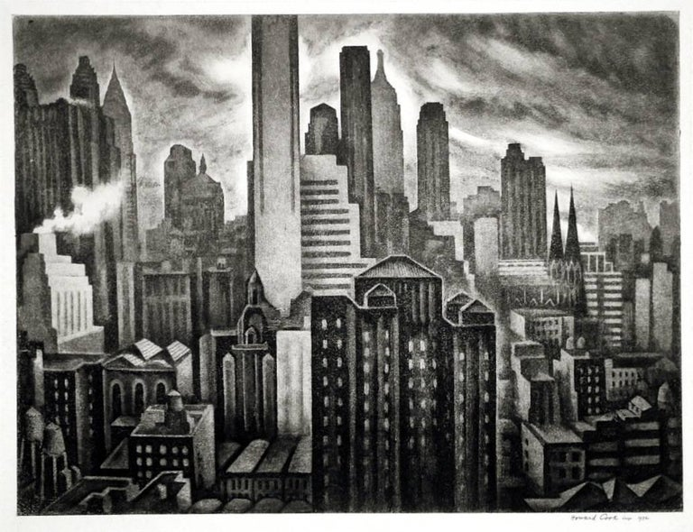 Howard Norton Cook Landscape Print - Soaring New York