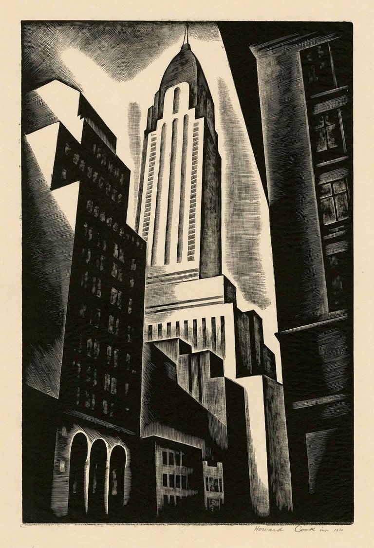 Howard Norton Cook Landscape Print - Chrysler Building (Chrysler Building in Construction)