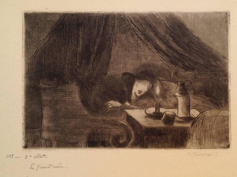 Camille Pissarro Figurative Print - Grand-mere (effet de lumiere)