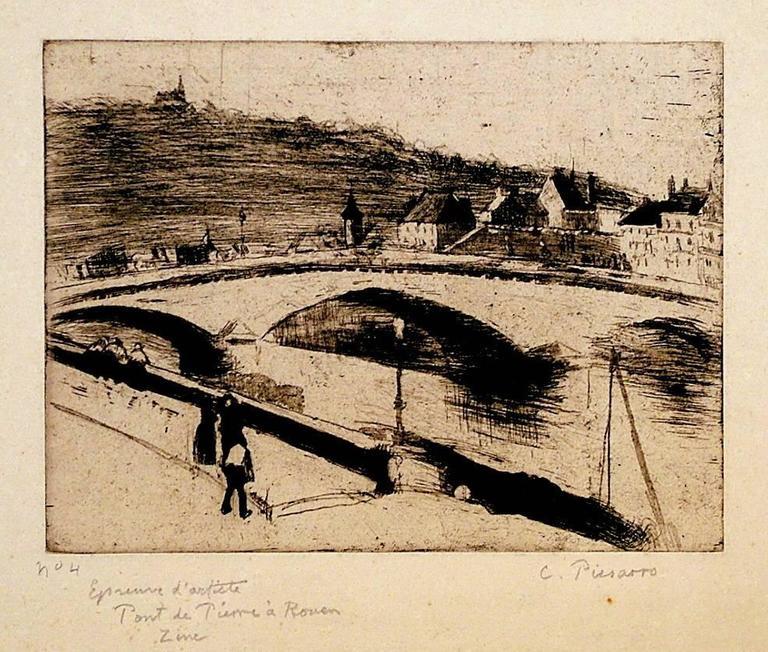 Camille pissarro le pont de pierre a rouen print for - Le petit zinc rouen ...