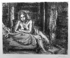 John Sloan -  Nude Leaning on a Chaise