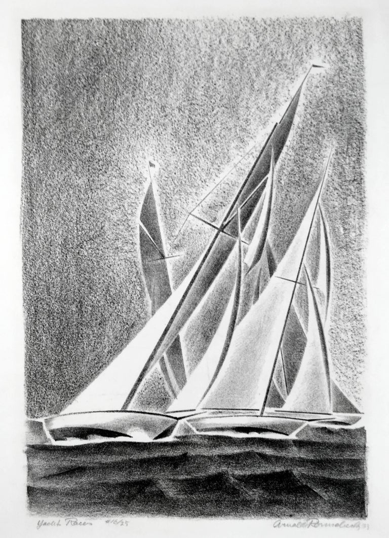 Arnold Ronnebeck Landscape Print - Yacht Races (Grand Lake, Colorado)