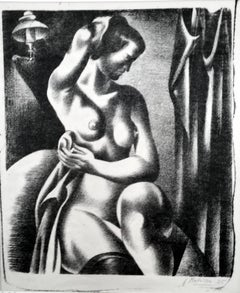 Three-Quarter View of Nude Bathing Seated Near Lamp
