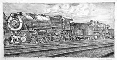 Reginald Marsh - Pennsylvania Rail Road Loco Waiting to be Junked