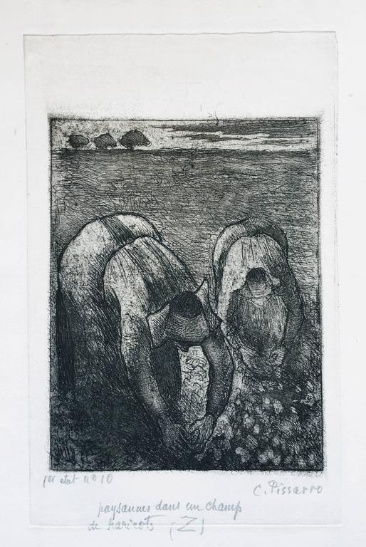 Camille Pissarro Figurative Print -  Paysannes Dans un Champ de Haricots