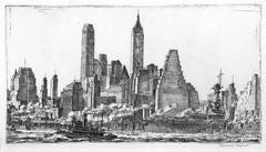 Reginald Marsh -  Skyline from Pier 10, Brooklyn