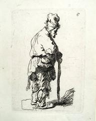 Beggar Leaning on a Stick Facing Left (after Rembrandt, reversed)