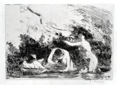 Baigneuses a L'Ombre des Berges Boisees (Women Bathing in the Wooded Shade...)