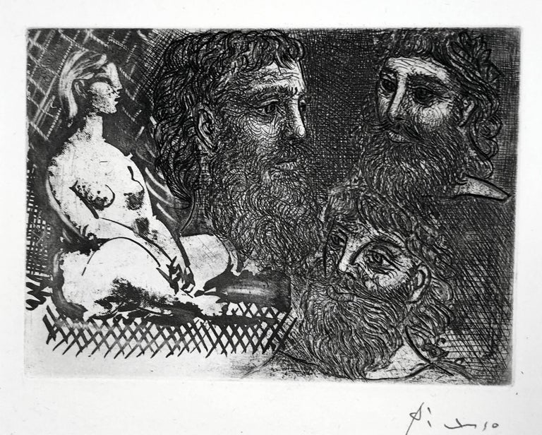 Pablo Picasso Nude Print - Femme Nue Assise et Trois Tetes Barbues
