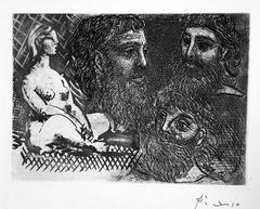 Femme Nue Assise et Trois Tetes Barbues