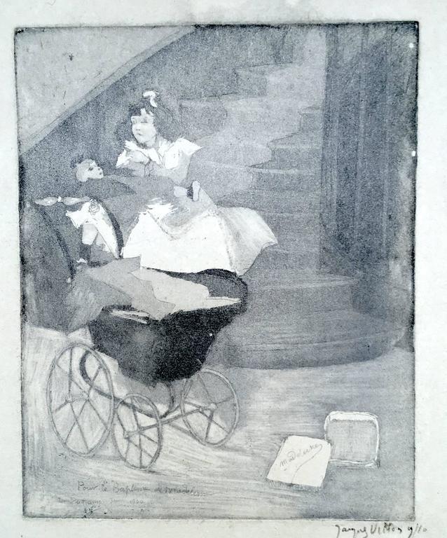 Jacques Villon Figurative Print - Pour le Bapteme de Madeleine