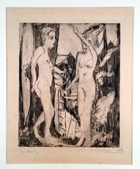 Two Standing Nude Women, before a Fir Tree, Mountainside