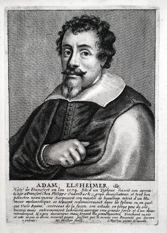 Wenceslaus Hollar Portrait Print - Adam Elsheimer, etching after a painting of Elsheimer by Jan Meyssens