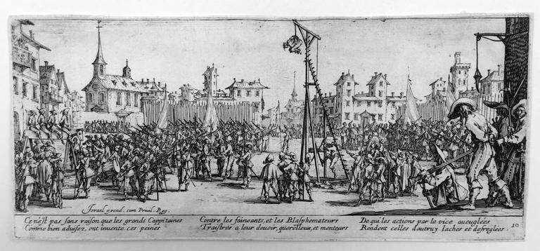 Jacques Callot (1592-1635), Les Grandes Miseres de la Guerre, etchings, 1633, the complete set of 18. Lieure 1339-56, the frontispiece third state (of 3), the remaining impressions second state (of 3). In very good condition, with narrow or thread