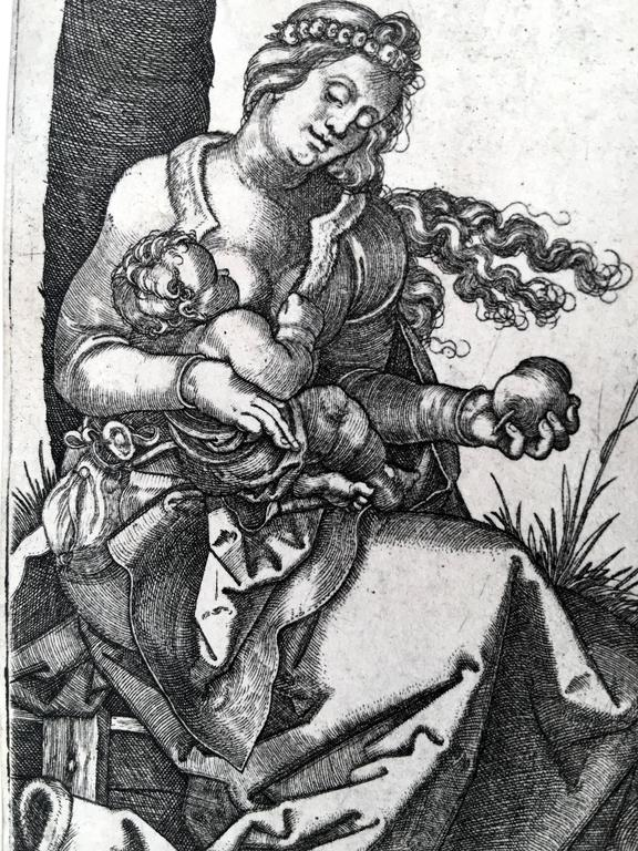 Virgin and Child with the Pear - Print by Hans Sebald Beham