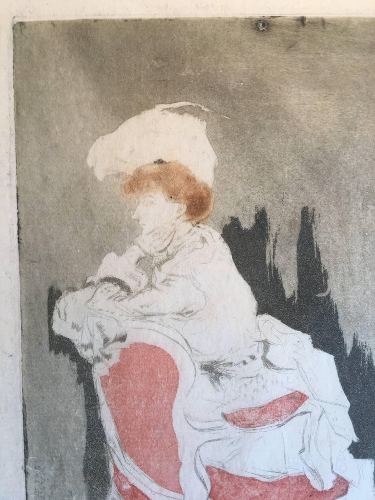 Jacques Villon (1875-1963),  La Parisienne (tournee a gauche, petite planche), 1904, etching and aquatint in color (black, brown, red), signed  and dated ('04) in pencil. Reference: Ginestet and Pouillon E093, fifth state (of five). In very good