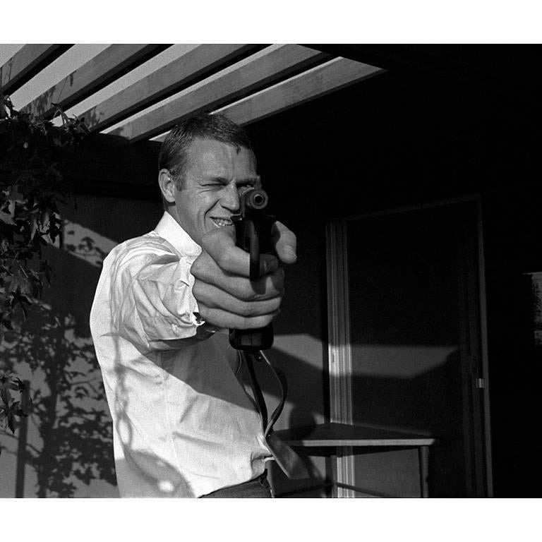 Sid Avery Black and White Photograph - Steve McQueen at his Hollywood Hills Home on Solar Drive, Photograph