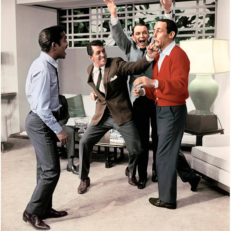 """Sid Avery Color Photograph - Stars of """"Ocean's Eleven"""" Stage a Fight"""