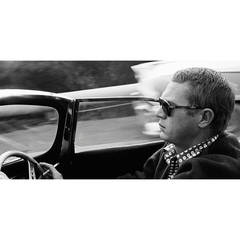 Steve McQueen driving his 1957 XK-SS Jaguar through Nichols Canyon in Hollywood