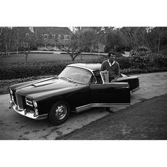 Dean Martin and his Facel Vega HK500 in the Driveway of his Beverly Hills Home