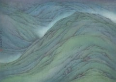 Spring Mountain      (Modern Chinese Painting) blue green contemporary