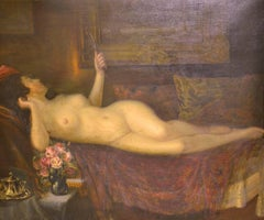 Reclining Nude Woman with Mirror and Roses