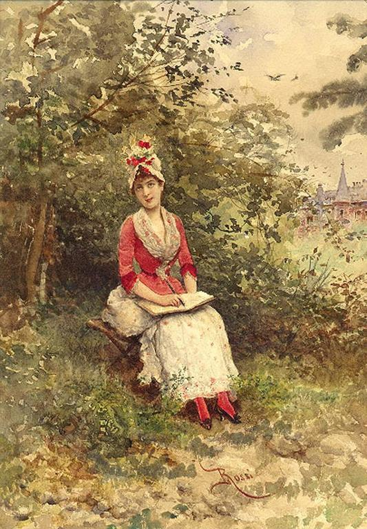 Pretty Woman in a Red & White Dress with Flowers in Her Bonnet (Impressionist)