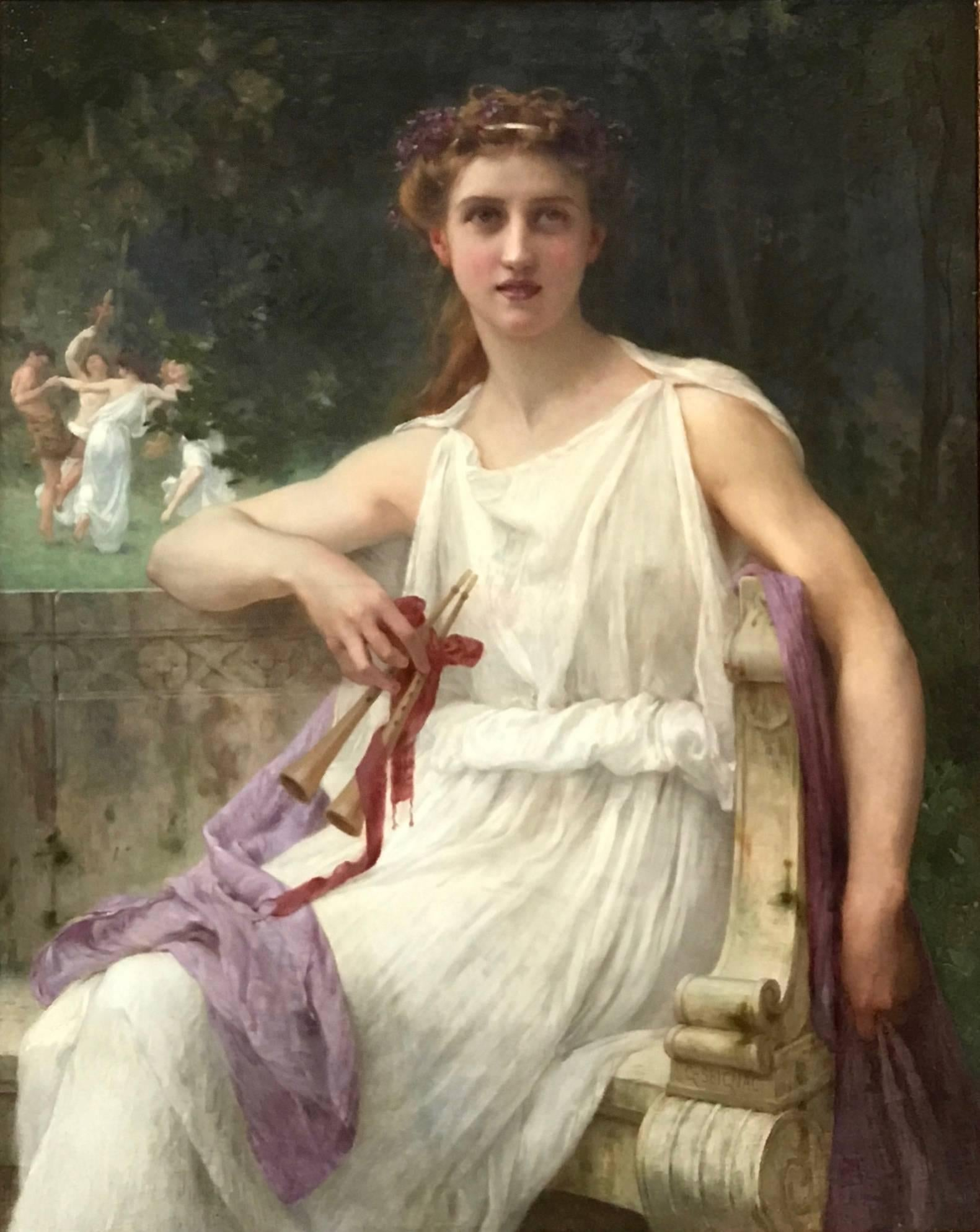 Euterpe (The Muse of Music) - Beautiful Girl with flute in Classical Landscape