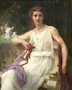 Euterpe (The Muse of Music)  (Beautiful Girl with flute in Classical Landscape)