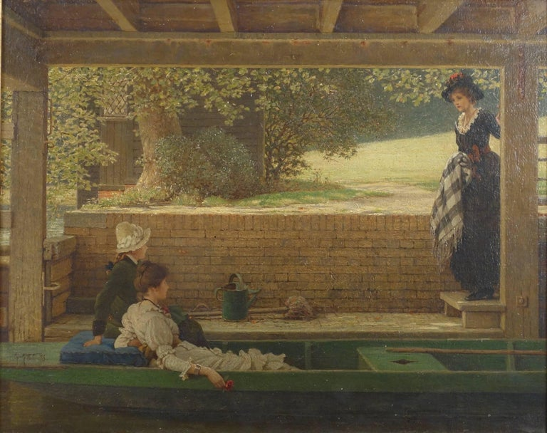 Three Girls Preparing for a Punt (Boat) Outing
