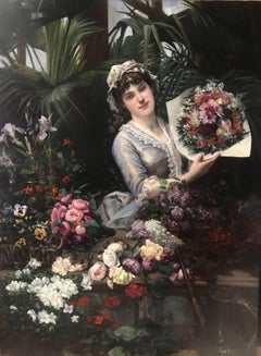 Beautiful French Woman Arranging Flowers in Atrium Conservatory Greenhouse 1884
