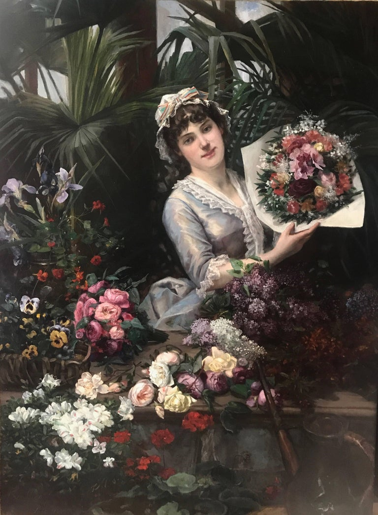 Christian Henri Roullier Figurative Painting - Beautiful French Woman Arranging Flowers in Atrium Conservatory Greenhouse 1884