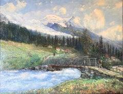 Impressionist Mountain Village Landscape with Man & stream
