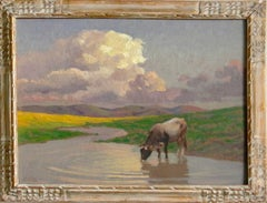 Cow Watering in Italian Countryside Impressionist Landscape (blue, green, yellow