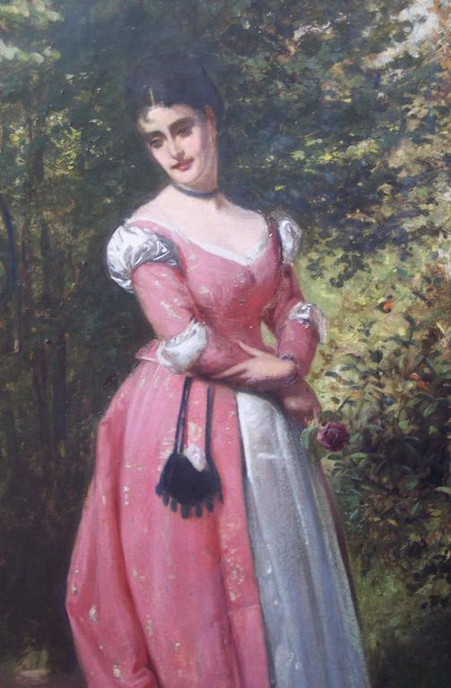 Woman with Parrot - Painting by Edward Charles Barnes