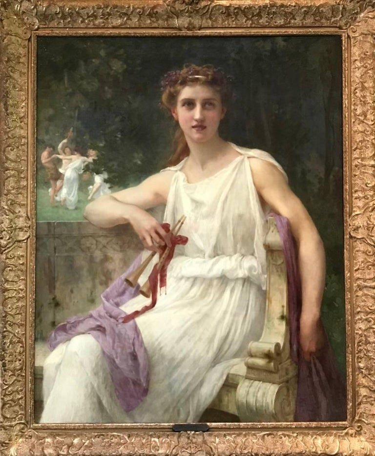 Euterpe (The Muse of Music)  (Beautiful Girl with flute in Classical Landscape) 2
