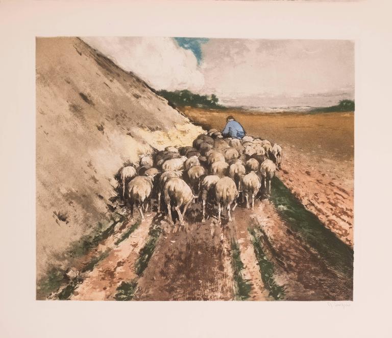 Ferdinand-Jean Luigini Animal Print - Shepherd With Sheep