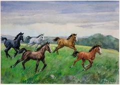 Wild Horses Watercolor