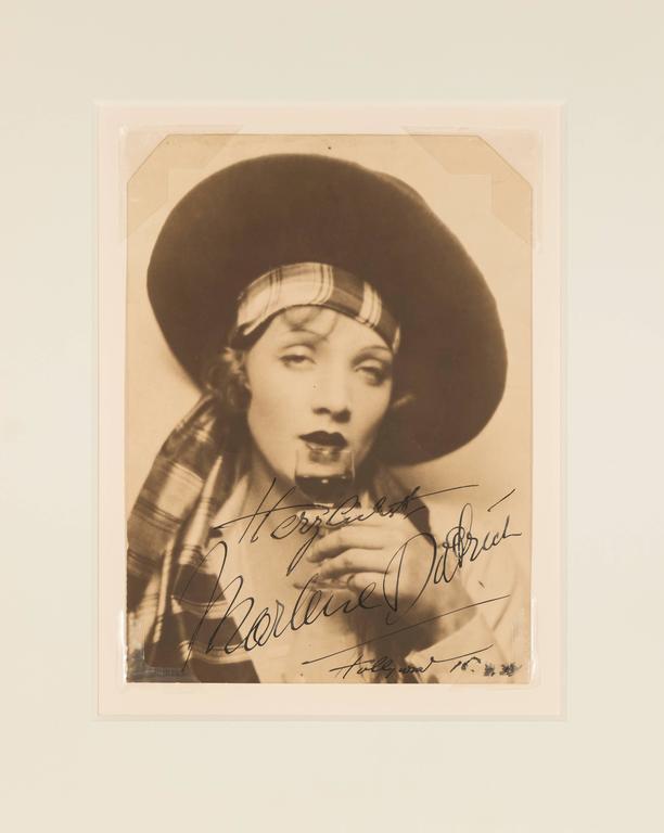 """Unknown Portrait Photograph - """"Herzlichst, Marlene Dietrich, Hollywood, '34"""""""