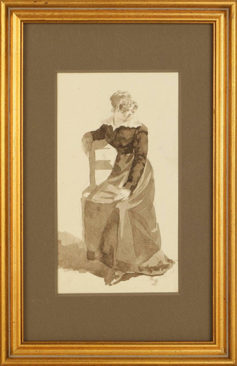 Unknown Portrait - Original French Watercolor