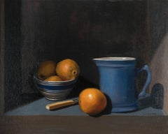 Blue Pitcher with Oranges