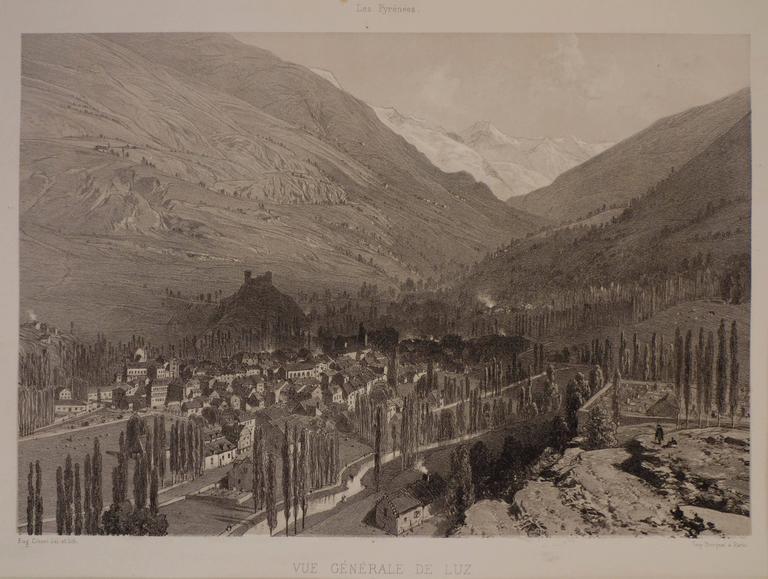 View of Luz (Saint-Sauveur) France - Print by Eugene Ciceri