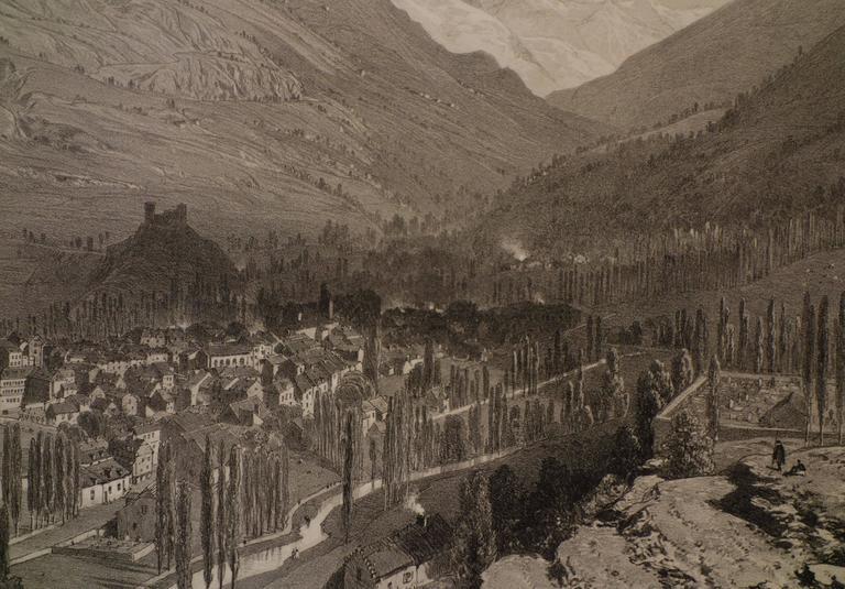 View of Luz (Saint-Sauveur) France - Realist Print by Eugene Ciceri