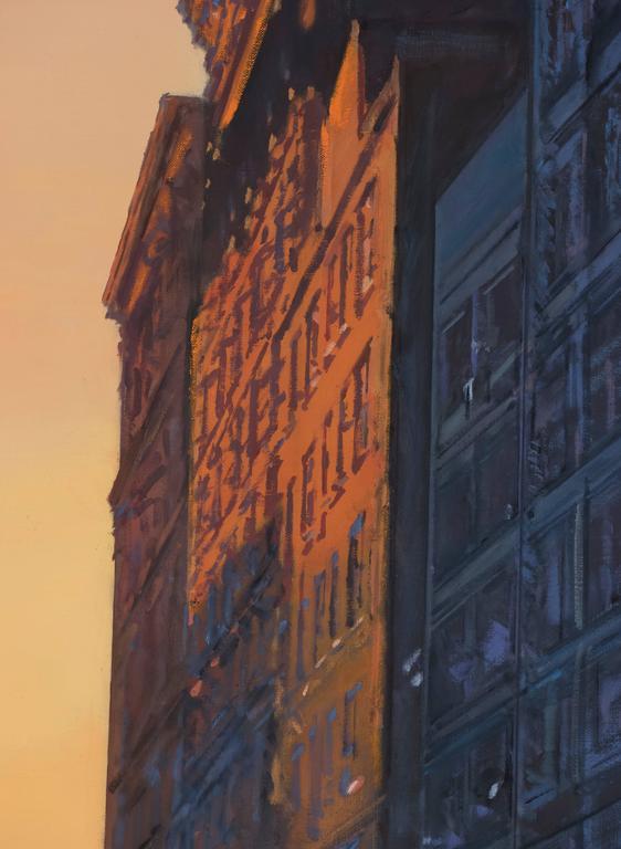 Gotham Blue - Black Landscape Painting by Derek Reist