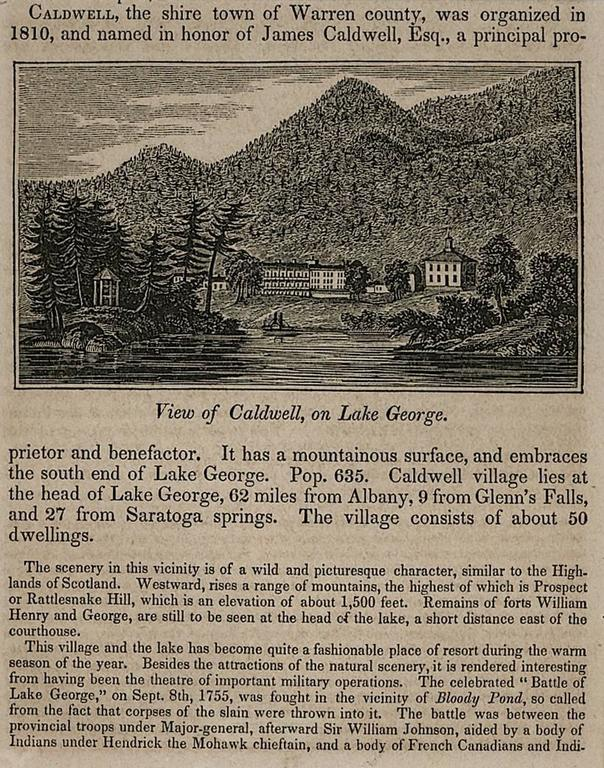 View of Caldwell, on Lake George - Print by Unknown