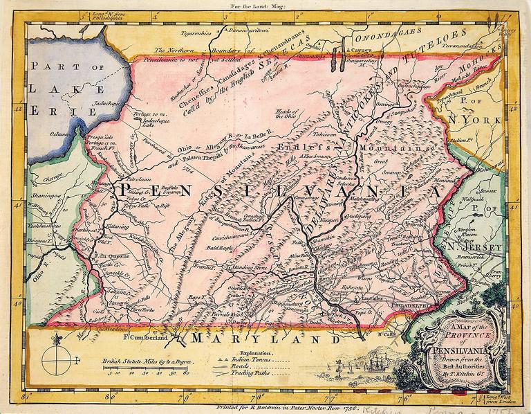 Thomas Kitchin - Pre-Revolutionary War Map of Pennsylvania, Print at ...